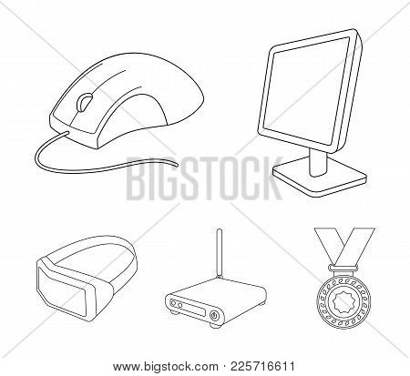 Monitor, Mouse And Other Equipment. Personal Computer Set Collection Icons In Outline Style Vector S