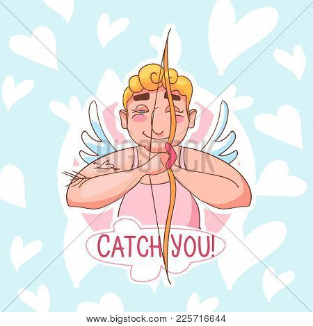 Vector Valentines Day Sticker. Cartoon Cupid Angel Character For Valentines Day Design, Banners, Sit