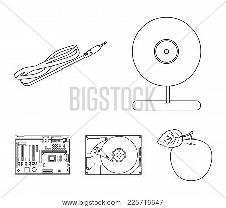 Webcam, motherboard and other equipment. Personal computer set collection icons in outline style vector symbol stock illustration . poster