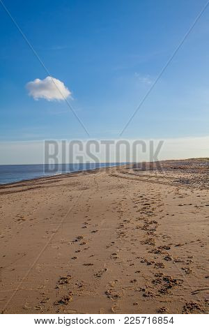 Simple Beach Background Image. Single Fluffy White Cloud In Blue Sky. Quiet Dog Walk Footprints In T