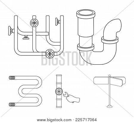 A Siphon, A Towel Warmer And Other Equipment.plumbing Set Collection Icons In Outline Style Vector S
