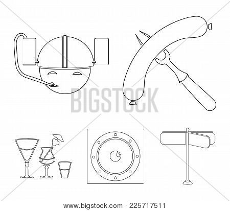 Fried Sausage, Beer Helmet, Cocktails, Speaker.pub Set Collection Icons In Outline Style Vector Symb