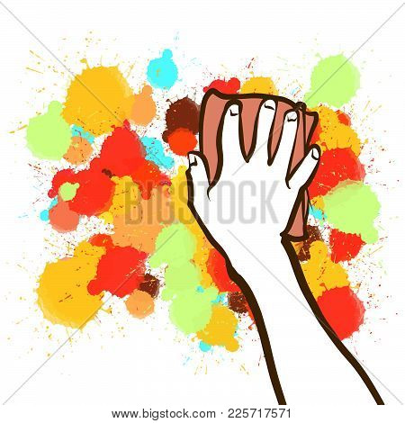 Colorful Sponge Hand Blackboard Sketch. Hand Drawn Vector Illustration, Splatter Color Isolated On W