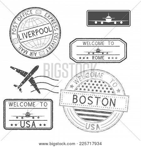 Set Of Tourist And Postal Stamps. Vector Illustration Isolated On White Background