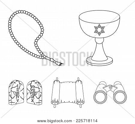 A Cup Of Wine, Islamic Beads, Ten Commandments, Tanakh. Religion Set Collection Icons In Outline Sty