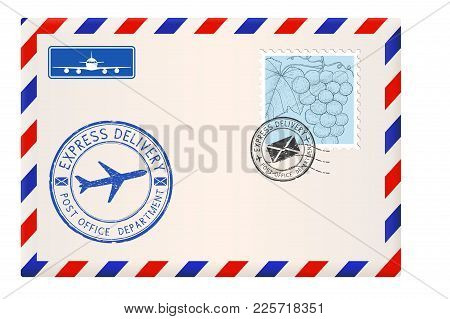 Envelope With Stamps And Postmarks. International Mail Correspondence. Vector Illustration Isolated