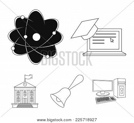 Computer, Cap, Atom, Nucleus, Bell, University Building. School Set Collection Icons In Outline Styl