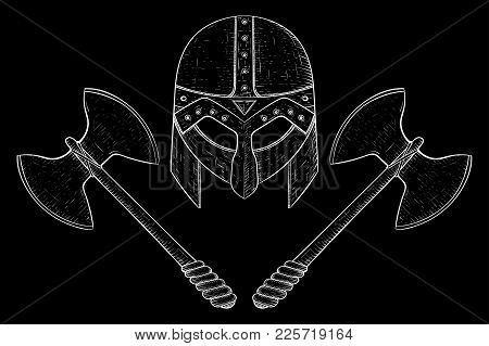 Viking Helmet And Two Bladed Axes. Hand Drawn Sketch. Vector Illustration On Black Background