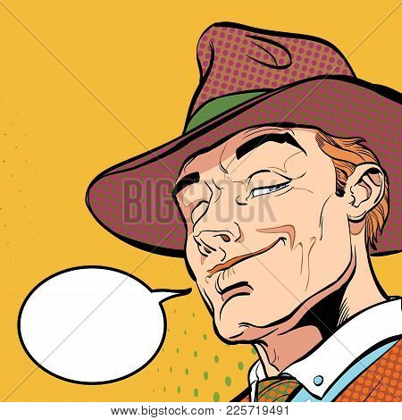 Happy Cowboy. Cartoon Character. Wild West Halftone Background
