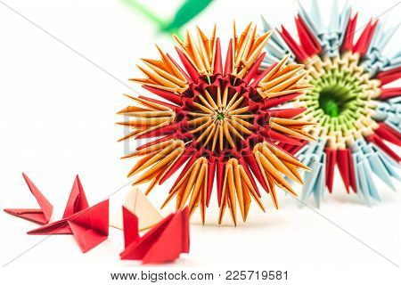 Couple Of Module Origami Paper Flowers With Red Modules Craft Isolated On White Background