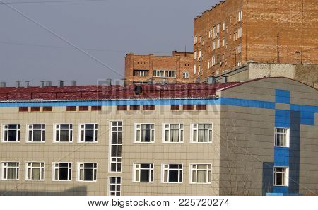 School And Multi-apartment Houses. Modern Architecture. Kazakhstan, Ust-kamenogorsk