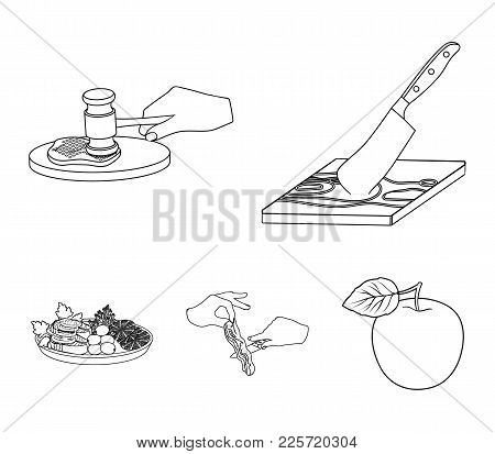 Cutlass On A Cutting Board, Hammer For Chops, Cooking Bacon, Eating Fish And Vegetables. Eating And