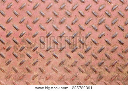 Grunge Old Red Color Of Diamond Shape Metal Plate Textured Background