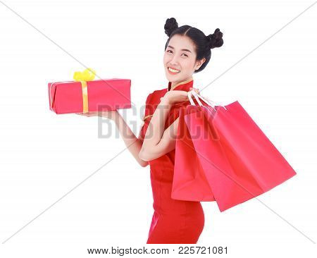 Happy Woman Holding Shopping Bag And Red Gift Box In Concept Chinese New Year Celebration Isolated O
