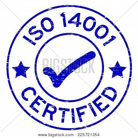 Grunge Blue Iso 14001 Certified With Mark Icon Round Rubber Seal Stamp On White Background