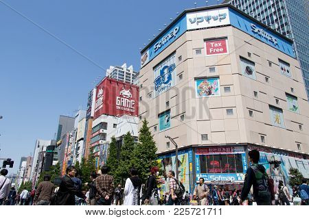 Tokyo, Japan - April 30, 2017: Akihabara District In Tokyo That Is Called As Electric Town And Locat