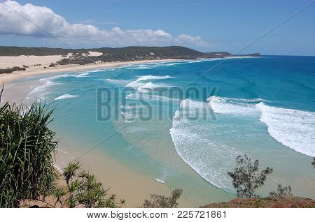 Beach View From Hill On Fraser Island Australia