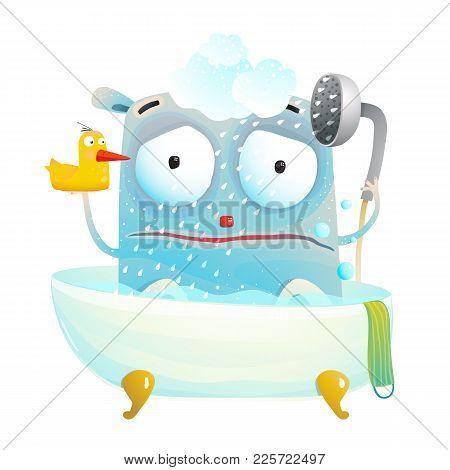 Little Creature Does Not Like Bathing. Vector Cartoon.