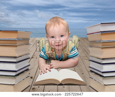 Picture Of Little Child With A Book