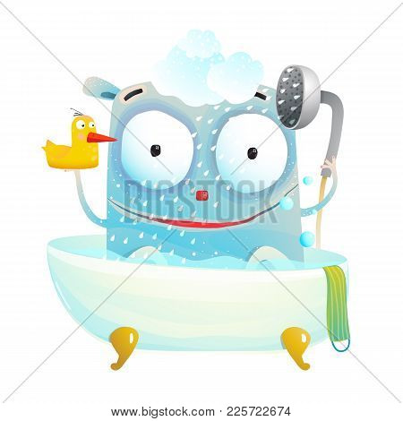 Little Cutie Having Bath With A Toy. Vector Cartoon.