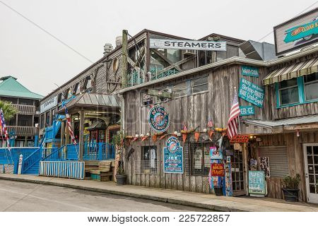 Cedar Key, Florida - January 15, 2015 : Seafood Restaurant And A Souvenir Shop In The Historic Downt