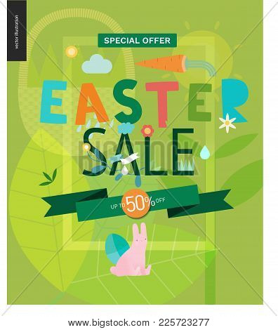 Easter Sale Poster - A Shop Announcement, Flyer, Discount Advertisement