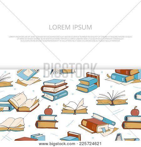 Bright Books Sketch Banner Design For Shop, Market, Store, Library. Vector Illustration