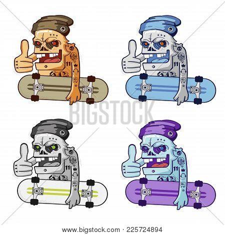 Hipster Pack Cartoon Skull Skater Boy Vector