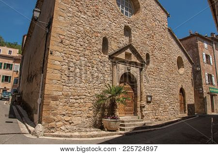 Châteaudouble, France - July 11, 2016. Stone Made Facade Of Ancient Church In Chateaudouble, A Quiet
