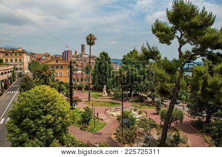 Landscaped Square With Buildings And Street In The City Center Of Grasse, A Friendly Town Known For