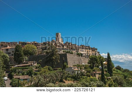Panoramic View Of The Village Of Saint-paul-de-vence On Top Of Hill, A Lovely Well Preserved Medieva