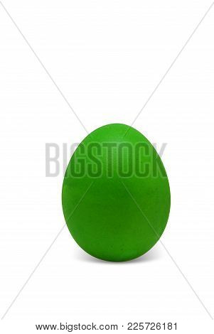 Green Easter Egg Isolated On White Background, For Your Holiday Design