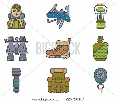 Hiking Equipment And Forest Leasure Vector Icon Set. Mountain Hiking And Trekking Elements. Swiss Kn