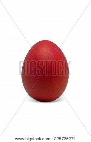 Red Easter Egg Isolated On White Background, For Your Holiday Design