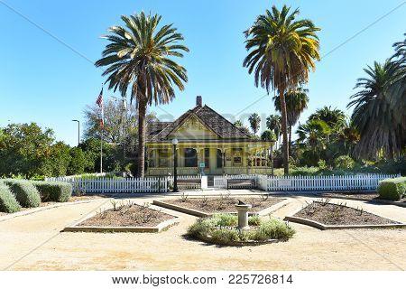 Fullerton, California - February 7, 2017: Fullerton Arboretum Heritage House. The House Was Built By