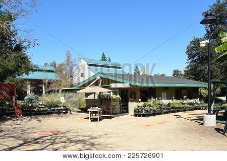 Fullerton, California - February 7, 2017: Fullerton Arboretum Potting Shed. The Area Features A Gard