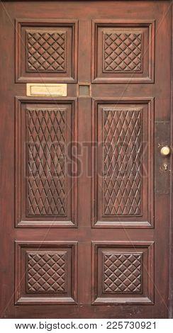 Vintage Modern Wooden Brown Door Close Up