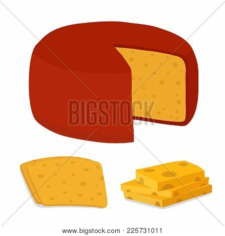 Vector Gouda Cheese Block And Piece. Slice, Chunk In Cartoon Flat Style. Farm Market Product For Lab