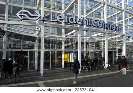 Leiden / The Netherlands - February 4 2018 The Entrance To The Train And Bus Station In Leiden With