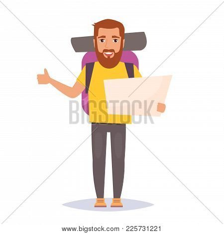 Hitchhiking. Man Traveler With Backpack. Isolated Art On White Background. Vector. Cartoon. Flat