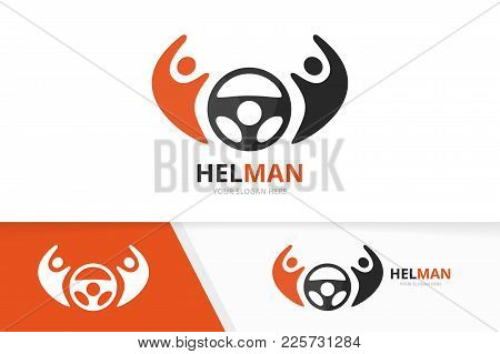 Vector Car Helm And People Logo Combination. Steering Wheel And Family Symbol Or Icon. Unique Rudder