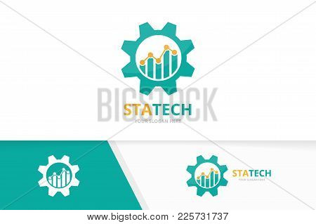 Vector Graph And Gear Logo Combination. Diagram And Mechanic Symbol Or Icon. Unique Chart And Indust
