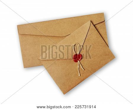 Two Different Vintage Craft Envelope With Red Wax Seal Stamp For Correspondence