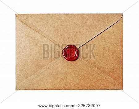 Vintage Craft Envelope With Red Wax Seal Stamp For Correspondence