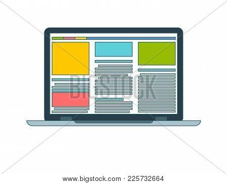 Laptop Flat Icon. Computer Symbol. Vector Illustration