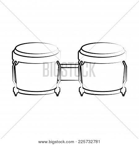 Isolated Bongo Drum Outline. Musical Instrument. Vector Illustration Design