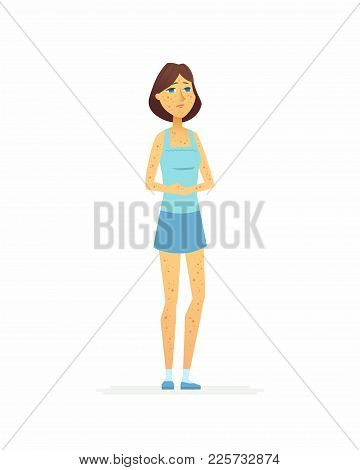 Young Woman With A Rash - Cartoon People Characters Isolated Illustration On White Background. An Im