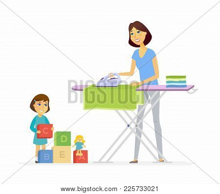 Young Woman Irons Clothes - Cartoon People Characters Isolated Illustration On White Background. An