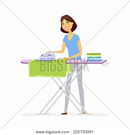 Young Woman Ironing Clothes - Cartoon People Characters Isolated Illustration On White Background. A