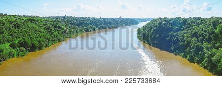 Panoramic Photo Taken Over The Tancredo Neves Bridge From The Iguacu River And The Borders From Braz
